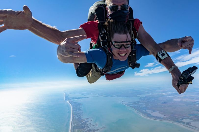 Tandem skydiving in Galveston