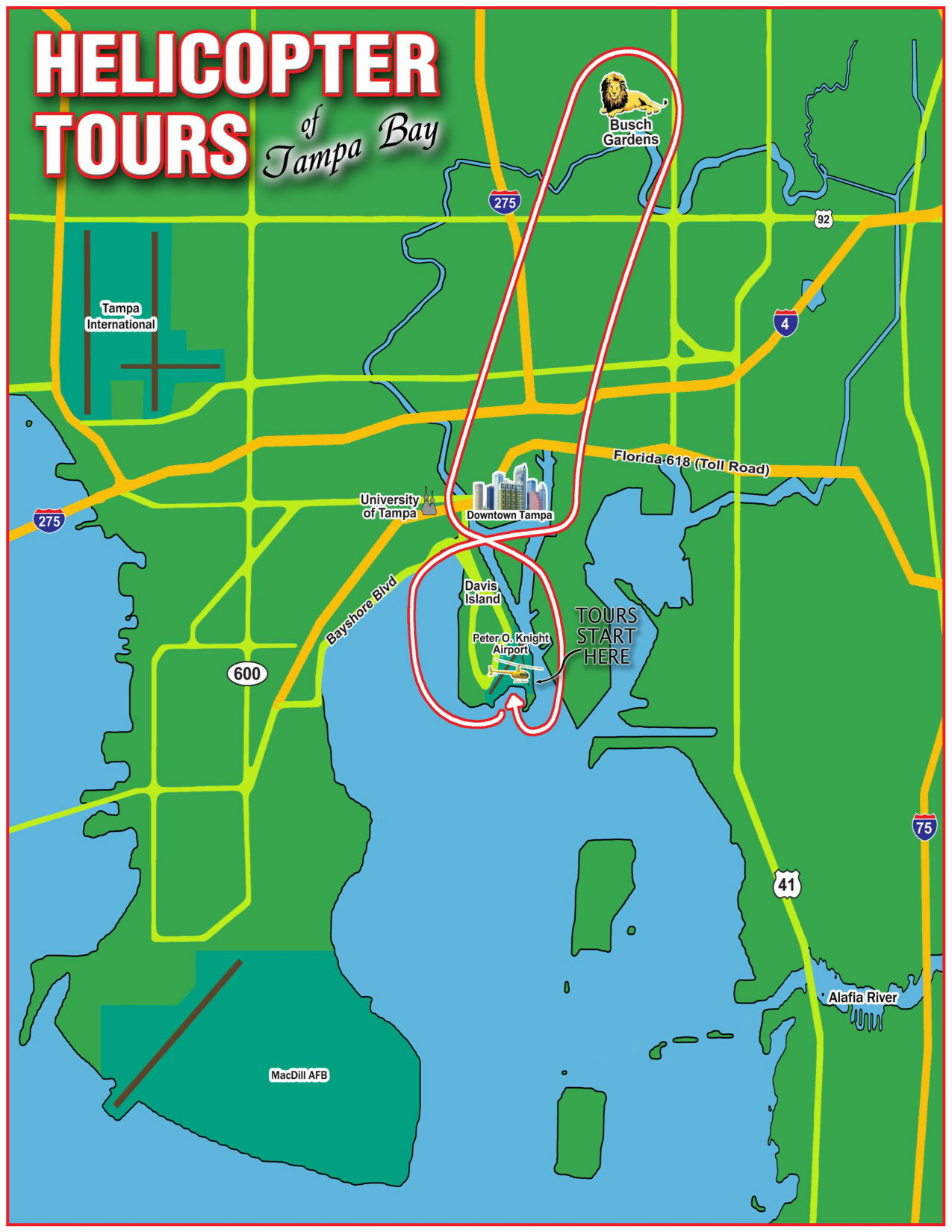 Tampa Busch Gardens & Downtown Helicopter Tour